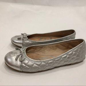 Sam Edelman Becka quilted Ballet Flats Silver Sz 7